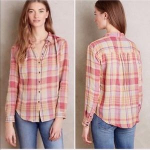 Anthropologie Holding Horses Plaid Top Size 2